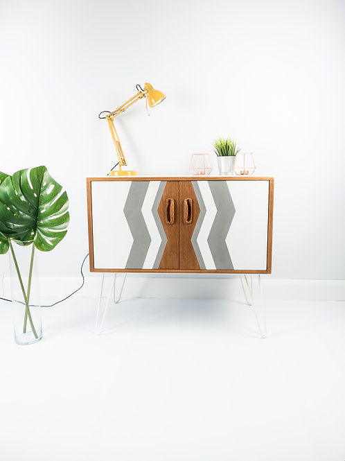 SOLD G Plan Mid Century Record Cabinet Sideboard On Hairpin Legs Hand Painted