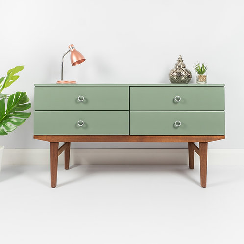 SOLD SOLD Mid Century Sideboard, Chest Of Drawers Storage, Painted Green Smoke