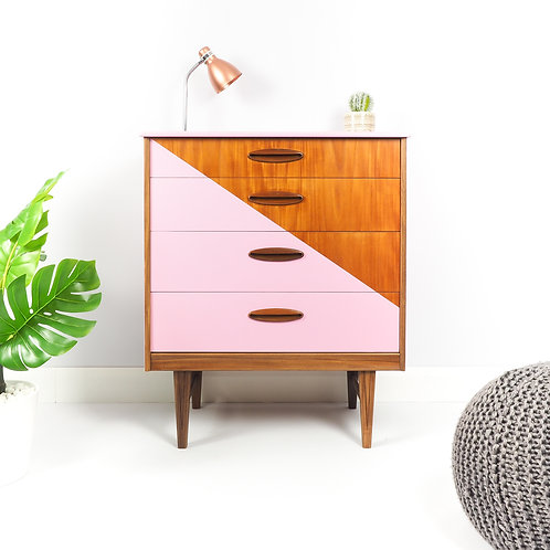 Mid Century Chest Of Drawers Storage Hallway Unit Painted Pink With Triangle