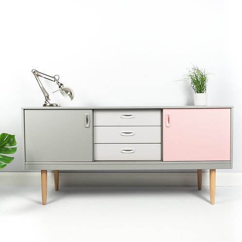 SOLD Retro Schreiber Sideboard Mid Century Modern Storage Painted Grey And Pink