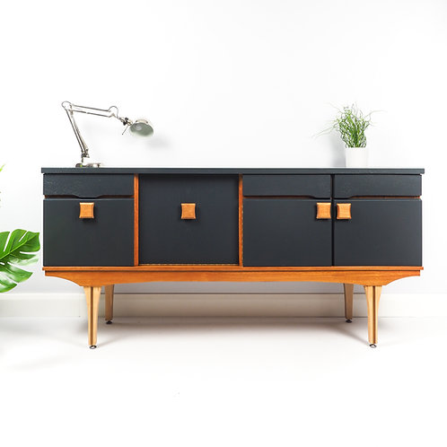 Mid Century Sideboard Retro Drinks Cabinet Media Unit Storage Painted dark Grey