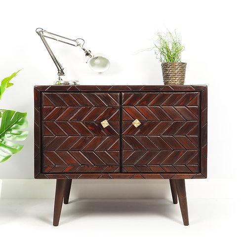 Mid Century Vintage Record Vinyl Cabinet Retro Storage With Wooden Mosaic