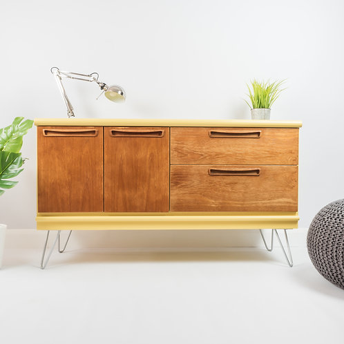 Mid Century Sideboard With Storage On Hairpin Legs Painted Yellow