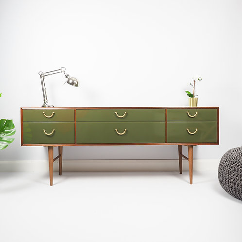 Meredew Mid Century Sideboard Media Unit Storage Cupboard Painted Green