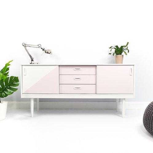 Retro Schreiber Sideboard Mid Century Modern Storage Painted White And Pink
