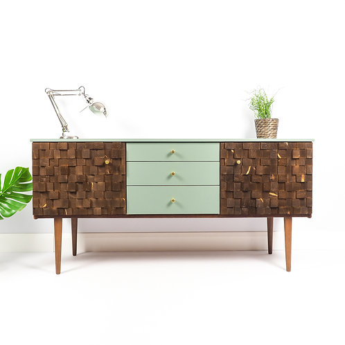 Mid Century Sideboard Dresser Retro Media Unit Painted Green