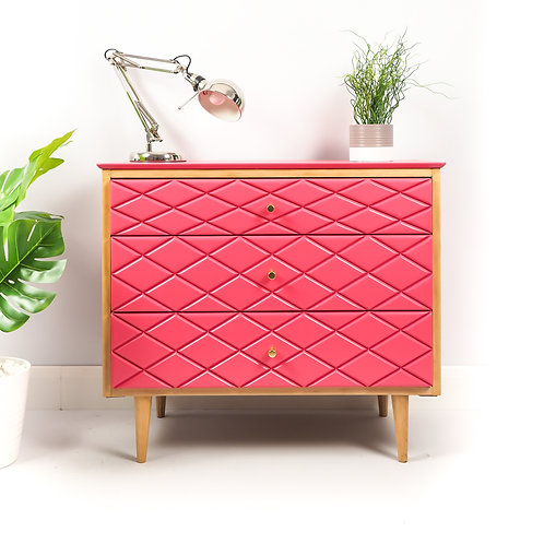 Mid Century Chest Of Drawers Storage Dresser With Diamond Pattern Painted Pink