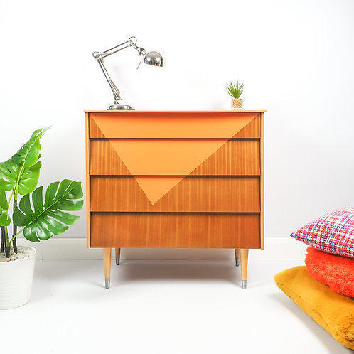 Mid Century Chest Of Drawers By Avalon Storage Painted in Triangle Design