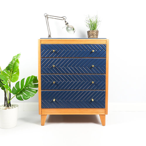 Mid Century Chest Of Drawers Dresser Storage Painted Navy Blue