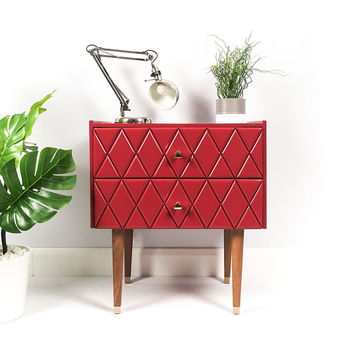 Mid Century Chest Of Drawers Storage Dresser With Diamond Pattern Painted Red on