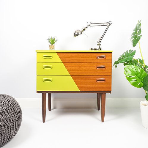 Schreiber Mid Century Modern Chest Of Drawers Storage Painted in Triangle Design