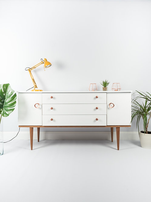 SOLD SOLD SOLD - Mid Century Vintage Modern Sideboard Upcycled Painted In White