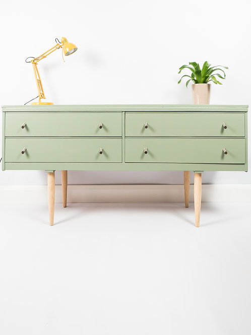 SOLD SOLD SOLD Mid Century Sideboard Painted Green Storage Chest Of Drawers