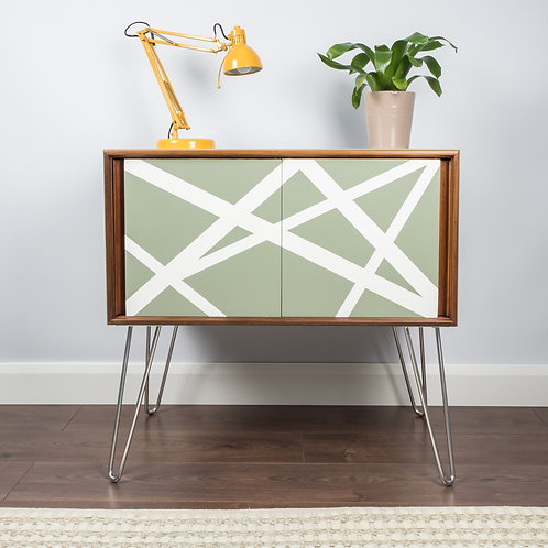 Mid Century Vintage Teak Record Vinyl Storage Cabinet In Green With Hairpin Legs