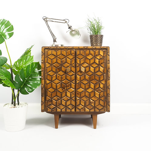 Mid Century Record Cabinet Vinyl Storage Media Unit With Handmade Mosaic