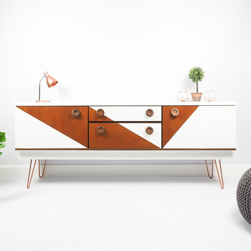 Mid Century Sideboard Dresser Retro Painted White On Hairpin Legs
