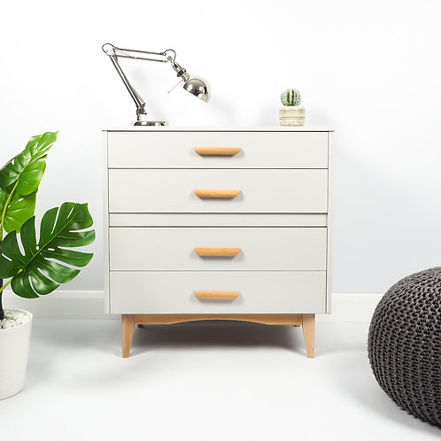 Mid Century Chest of drawers Upcycled Storage Retro Painted Grey