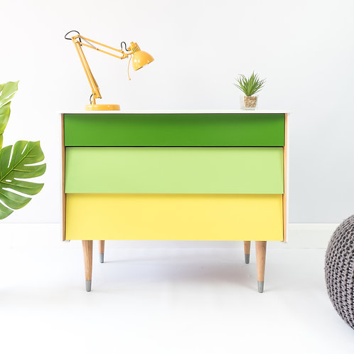 Mid Century Small Chest Of Drawers Storage Upcycled Painted Green