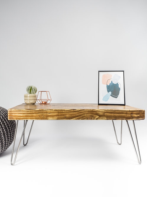 SOLD SOLD SOLD Handmade Solid Wood Coffee Table with Bare Steel Hairpin Legs