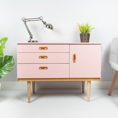 Schreiber Mid Century Chest of Drawers Sideboard Storage Unit Painted Pink