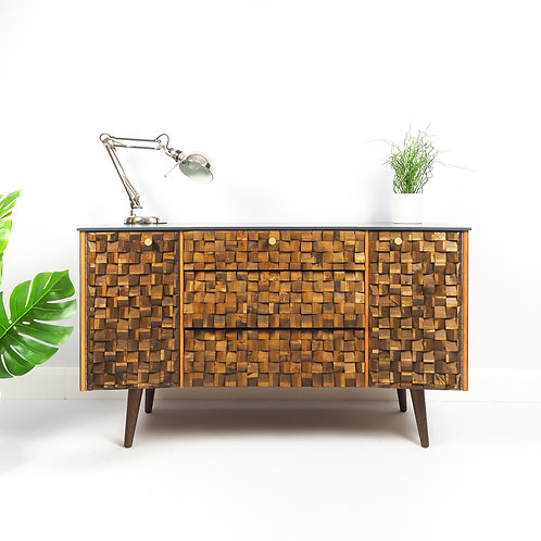 Mid Century Modern Sideboard  Painted Dark Grey With Wooden Mosaic