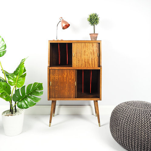 Mid Century Vintage Herbert E Gibbs Record Vinyl Cabinet Storage
