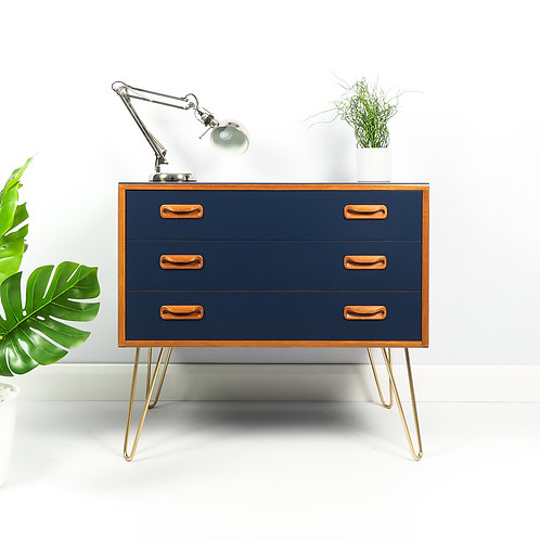 G Plan Mid Century Teak Chest of Drawers Painted Navy Blue on Gold Hairpin Legs