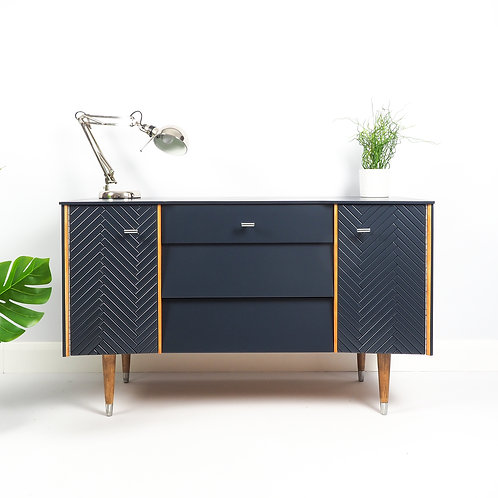 SOLD Mid Century Sideboard Dresser With Modern Pattern Painted Navy Blue
