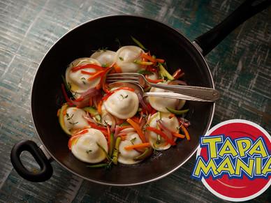 Sorrentinos Tapamanía con vegetales al wok