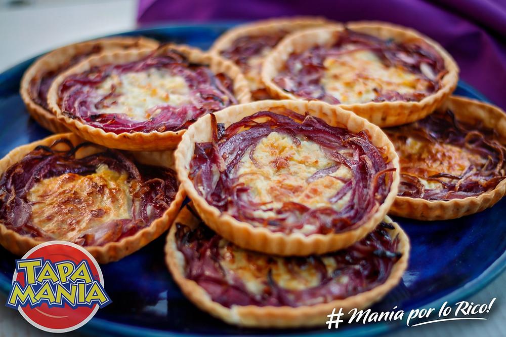 tartas de cebolla morada y queso azul