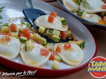 Sorrentinos a la manteca con parmesano, zucchini y tomate