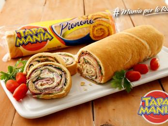 Pio nono Tapamanía  con espinaca, tomates, queso crema, queso rallado  y jamón cocido