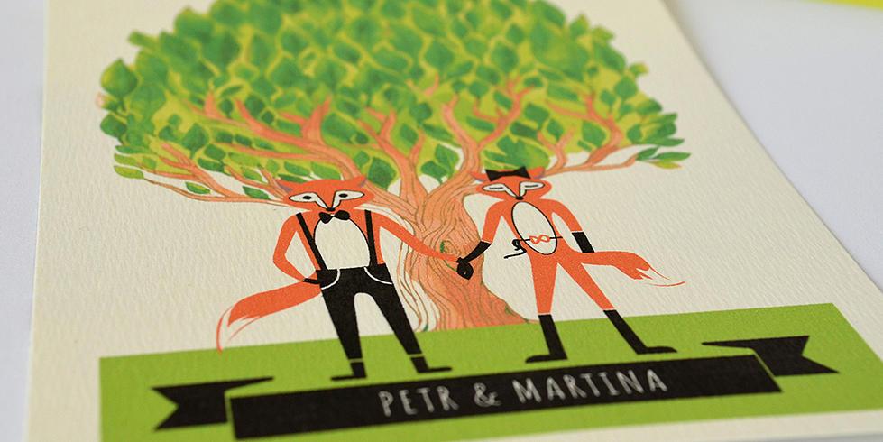 Svatební oznámení s ilustrací lišek
