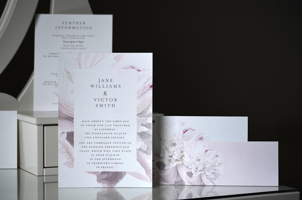 Svatební oznámení Růžová pivoňka