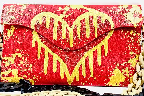 Sabrina red gold drip heart
