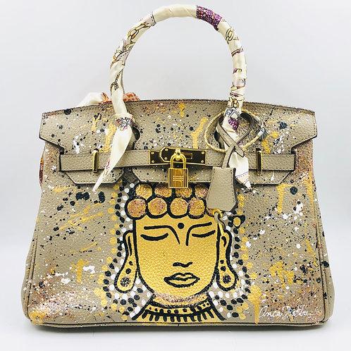 Beige Gold Buddha 30' cm Genuine Leather bag