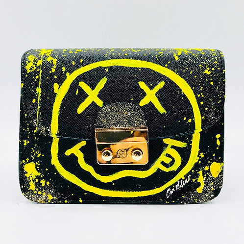 Black Yellow Smiley Crossbody