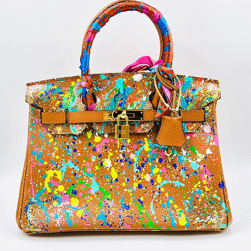 Caramel abstract 30' cm genuine leather bag