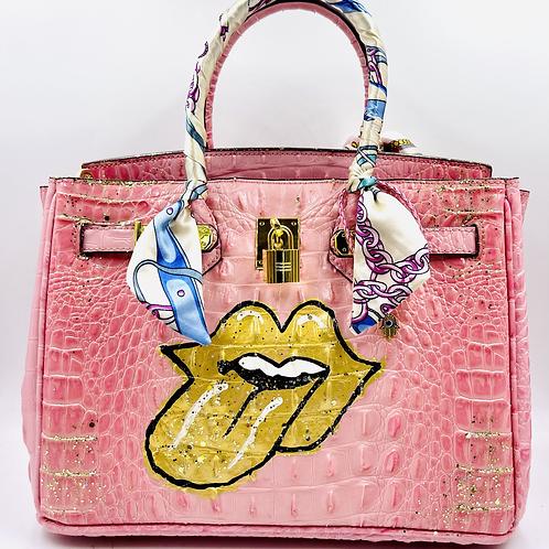 Bianca CROC light pink 30' gold tongue