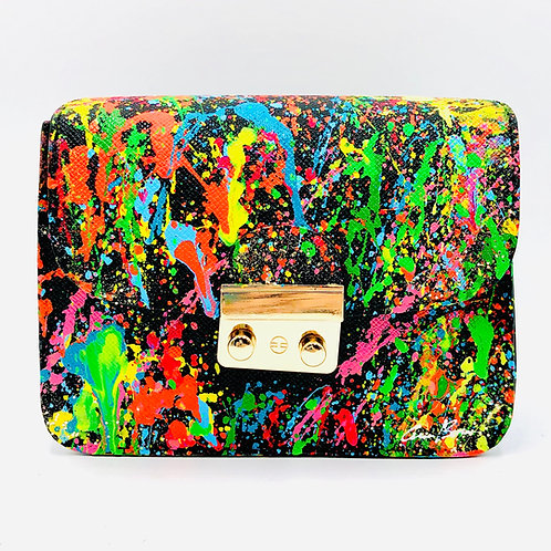 Black Colorful Splash Crossbody