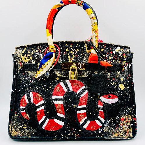 Black Snake 30' cm genuine leather bag