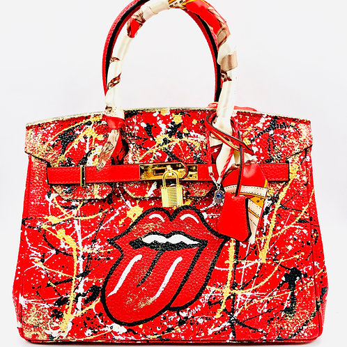 Red Tongue 25' cm genuine leather bag