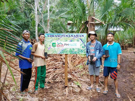 Tutup Akhir Tahun 2019, LSM EKA PM Haze Tanam Berbagai Macam Pohon