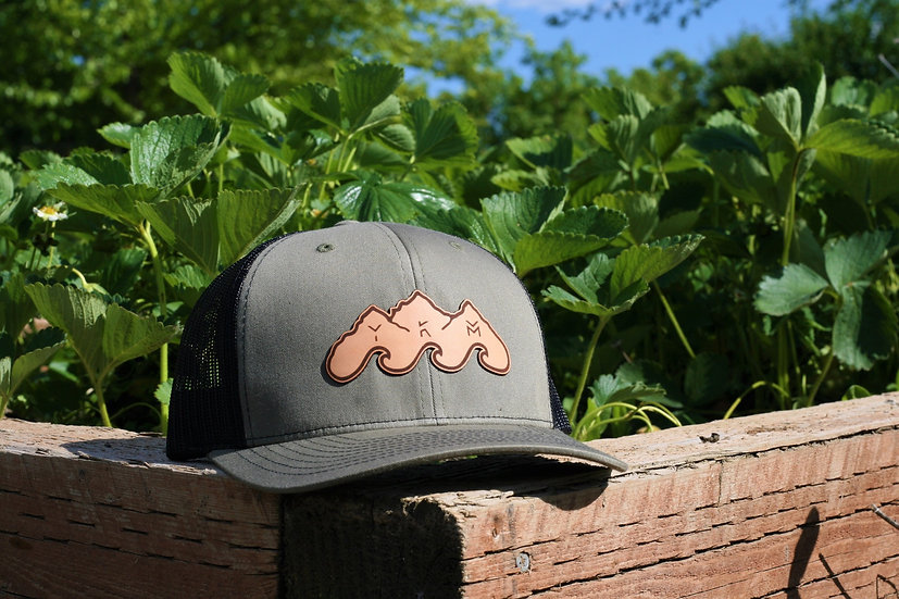Olive/Black Leather Patch Hat