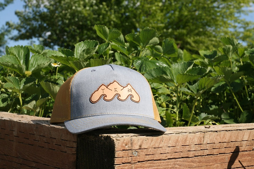 Amber/Heather Blue Leather Patch Hat