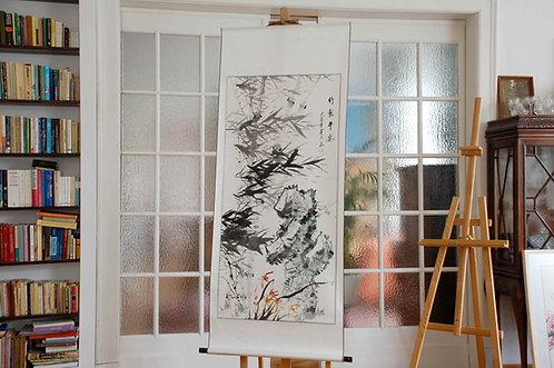 Ogromny chiński obraz ręcznie malowany w rolce Xieyi - BAMBUS