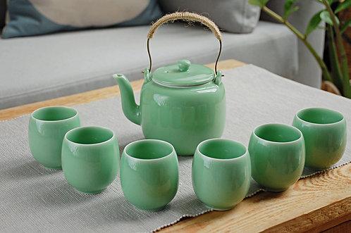 Celadonowy zestaw do herbaty chińskiej 600 ml dzbanek + 6 czarek
