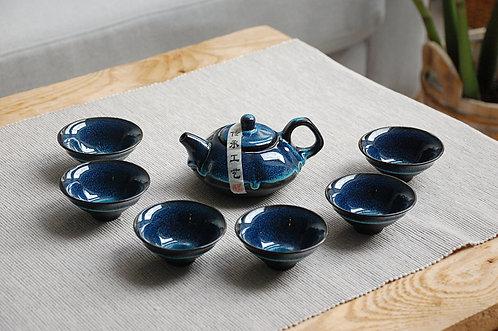 Granatowy zestaw do herbaty dzbanek + 6 czarek