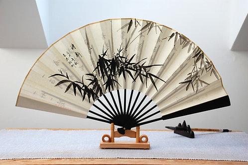 Ręcznie malowany wachlarz - Bambus
