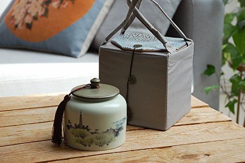 Ozdobny słoik na herbatę w chińskim etui KRAJOBRAZ CHIŃSKI